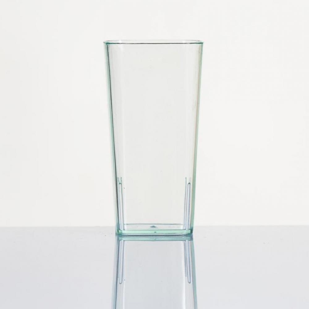 Vaso de plástico desechable diseño alto cuadrado para servicios de catering y hostelería