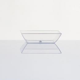 Plato de plástico duro transparente diseño CUADRADO para degustación aperitivos y postres fiestas y eventos catering y hostelería