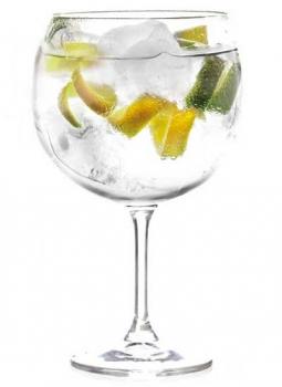 Gin Tonic presentado en copa reutilizable e irrompible de plástico Ttritan