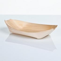 Barqueta plato de madera bambú presentación degustaciones de aperitivos en catering y hostelería