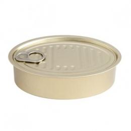Lata conserva dorada oval con tapa presentación alimentos eventos y fiestas catering y hosteleria