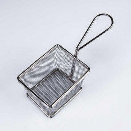 Cesta FREIDORA de metal presentación aperitivos y frituras en catering service y hostelería
