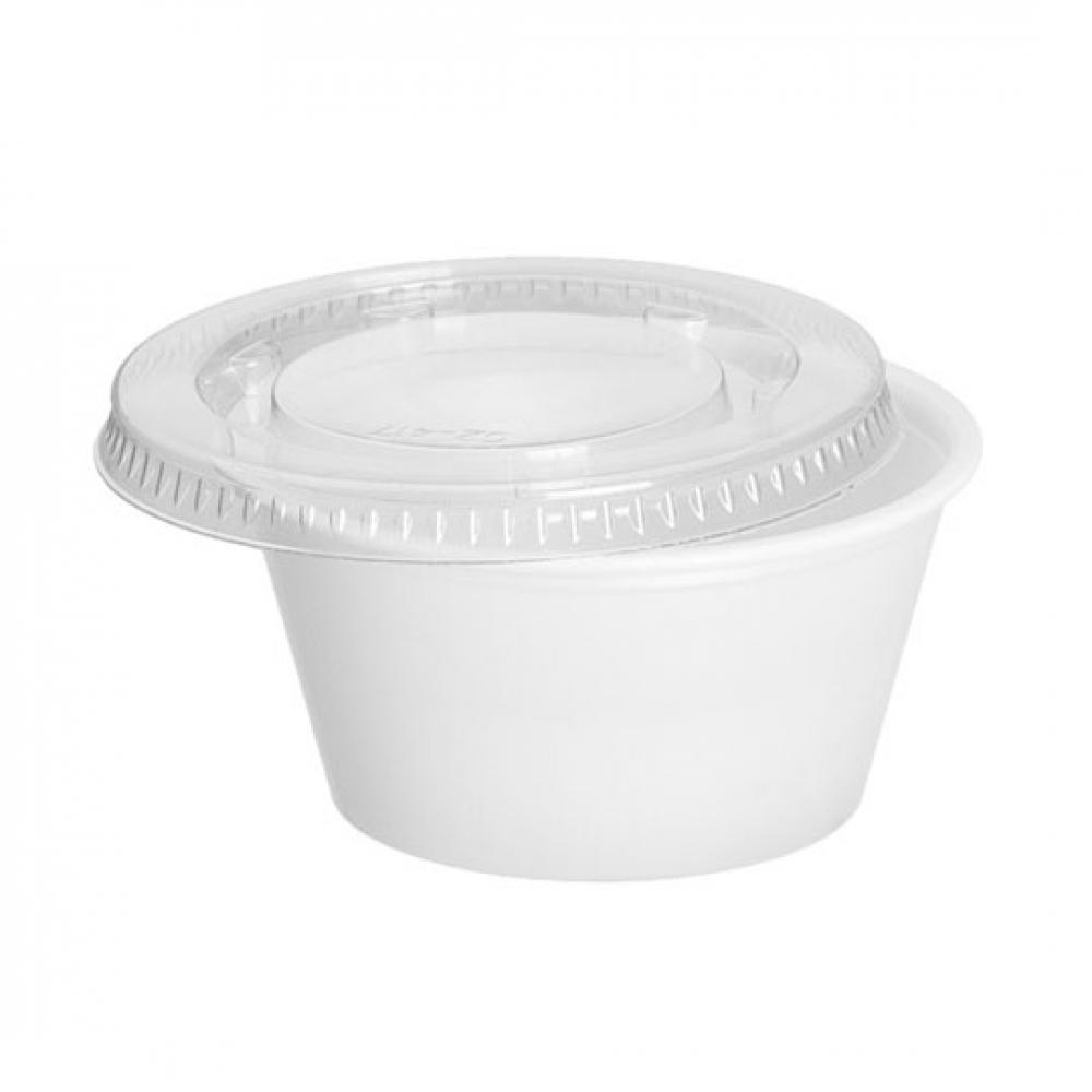Tapa tarrina plástico TRANSPARENTE 2oz   60 cc (Ristra 100 unidades)