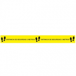 Etiqueta Adhesiva DISTANCIA DE SEGURIDAD Amarilla...