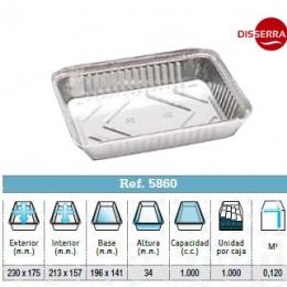 Envase aluminio 230x175x34 (Ristra 125 unidades)
