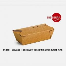 Caja KRAFT TAKEAWAY 185x90x55mm 500 ml (Ristra 75...