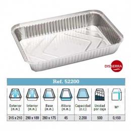 Envase aluminio 315x210x40 (Ristra 100 unidades)