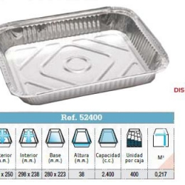 Envase aluminio 325x250x38 (Ristra 100 unidades)