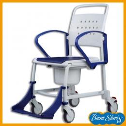 silla de ruedas para baño y ducha con inodoro y tapa minusválidos