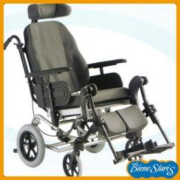 Silla de ruedas de respaldo abatible y asiento basculante