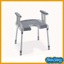 silla para baño y ducha de minusválidos, discapacitados, banqueta con brazos, invacare