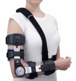 Ortesis activa de codo para flexión y/o extensión con articulación regulable incluida, prefabricada.