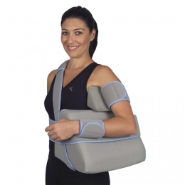 Ortesis pasiva para mantener hombro, codo y muñeca en una posición determinada.
