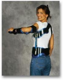 Ortesis multiarticulada pasiva para control de articulaciones de hombro, codo y muñeca.