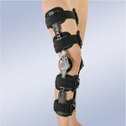 Ortesis de rodilla estabilizadora con articulación monocéntrica graduable de flexo-extensión