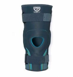 Ortesis de rodilla estabilizadora con articulación policéntrica graduable de flexo-extensión.