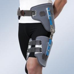 Ortesis modular de abducción de cadera regulable con control de la flexoextensión.