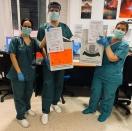 """El complejo hospitalario de la ciudad de Jaén  """"Capitán Cortes""""recibe las pantallas de protección facial procedentes de la iniciativa de Porcuna Solidaria y del Ayuntamiento de Porcuna."""