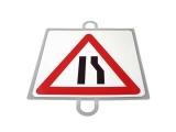 señal educacion vial, panel señalizacion trafico, señal trafico estrechamiento