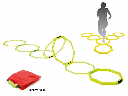 escalera agilidad aros, escalera agilidad aros octogonales