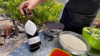 Arroz en paella de bacalao con brócoli y toque de marisco con Aove Molino del Duque