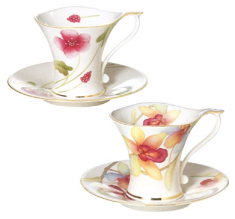 tazas porcelana orquídeas