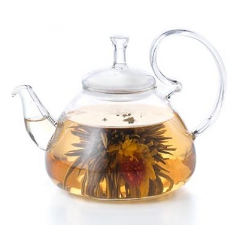 tetera cristal para flores de té