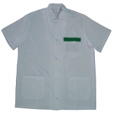 Casaca cuello mao sanitaria, color blanco-verde