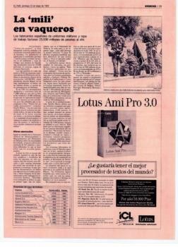 """La """"mili"""" en vaqueros. El País, domingo 23 de Mayo de 1993"""