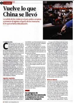 Artículo: Vuelve lo que China se llevó. Tiempo, 12 de Abril de 2013