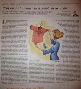 Artículo de prensa sobre la relocalización industrial del sector de la moda en España