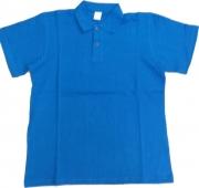 Polo manga corta azul en oferta
