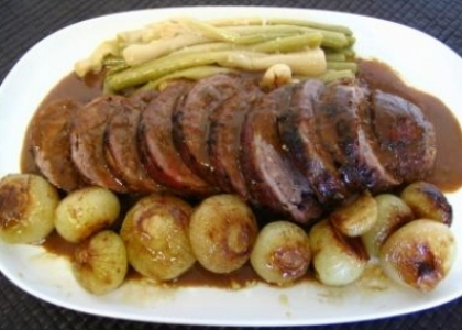 Pork sirloin with Onion jam and Wine Reduction.