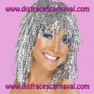 peluca lurex metalizada plata