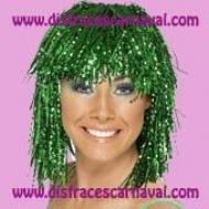 peluca lurex metalizada verde