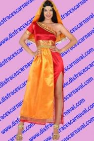 Indú mujer naranja rojo