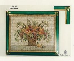 Cuadro moldura artesanal, jarrón Mosaico.
