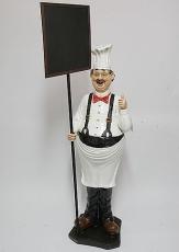 Figura resina cocinero con pizarra.