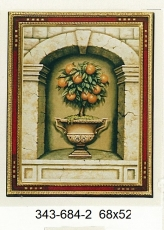 Cuadro moldura artesanal, jarrón Limones.