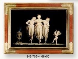 Cuadro moldura artesanal, tres bailarinas.