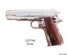 Colt 45 Government,1911, niquel, cachas de madera