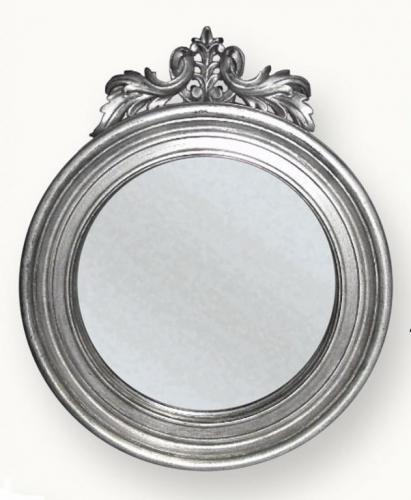 Espejo circulo copete plata.