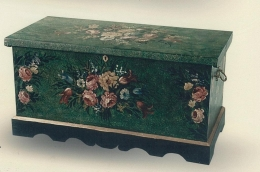 Wooden chest and wooden table hand painted