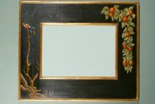 espejo luna biselada negro y oro 122x110