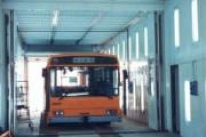 Cabina especial para el secado de autobuses