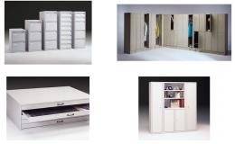 Conjunto de muebles metálicos armarios, archivadores, Taquillas y Planero