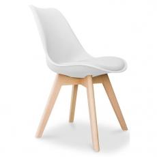 Silla de 4 patas de madera con asiento de ABS color blanco