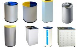 Papeleras metálicas para reciclaje selectivo