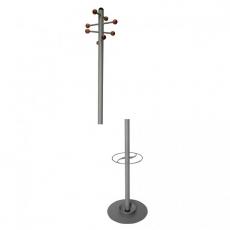 Perchero – paragüero metálico con 8 colgadores de madera de haya, mod.634