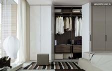 interior de armario en acabado nogal con módulos...